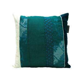 wit brocante turquoise vintage kussen voorkant