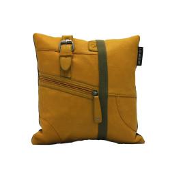 Vintage yellow bag kussen klein voorkant