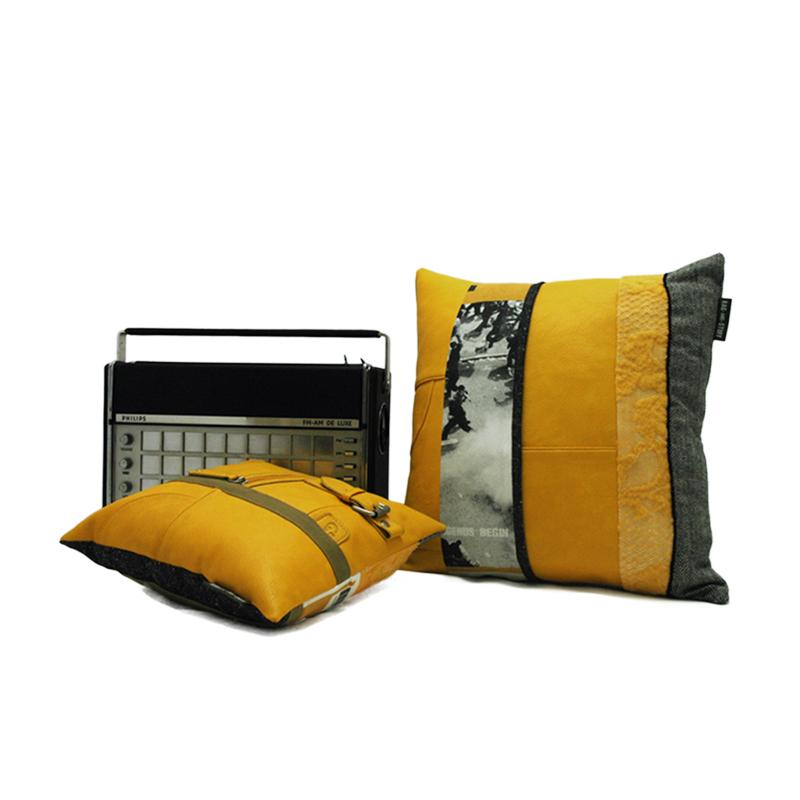 Vintage yellow bag kussen set 1