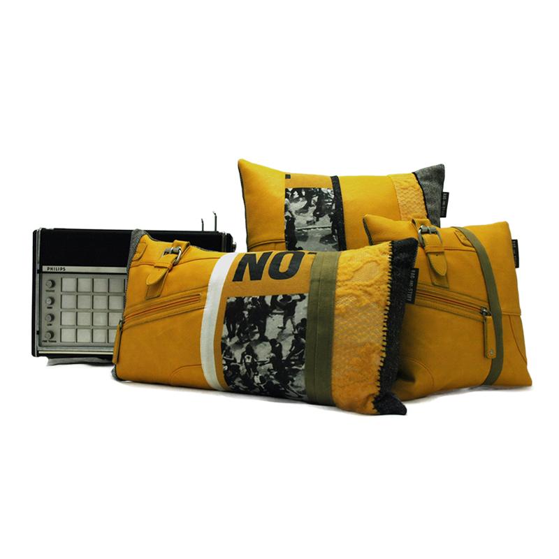 Vintage yellow bag kussen set 3