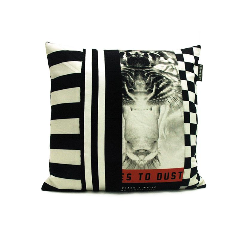 vintage black white kussen voorkant