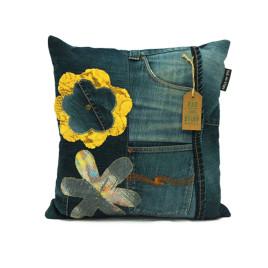 vintage jeans flower kussen groot voorkant