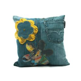 vintage jeans flower kussen voorkant