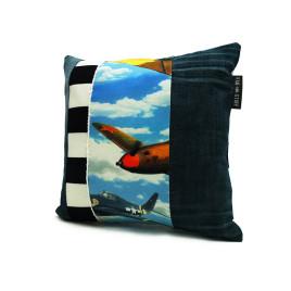 vliegtuig kids kussen jeans voorkant