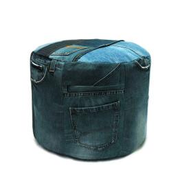 Vintage jeans poef voorkant